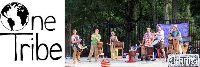 One Tribe Drum Circle performing on stage