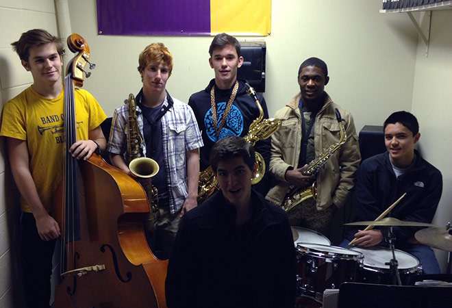 Enloe Jazz Ambassadors with their instruments